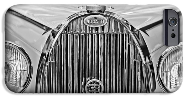 Bugatti Vintage Car iPhone Cases - 1935 Bugatti Type 57 Roadster Grille Emblem iPhone Case by Jill Reger