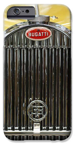 Bugatti Vintage Car iPhone Cases - 1935 Bugatti Type 57 Roadster Hood Emblem iPhone Case by Jill Reger