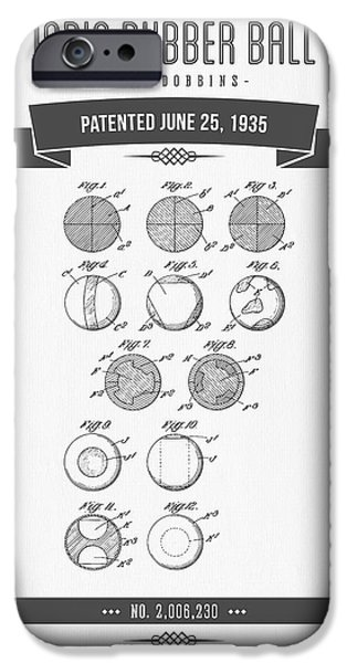 Player Mixed Media iPhone Cases - 1935 India Rubber Ball Patent Drawing - Retro Gray iPhone Case by Aged Pixel