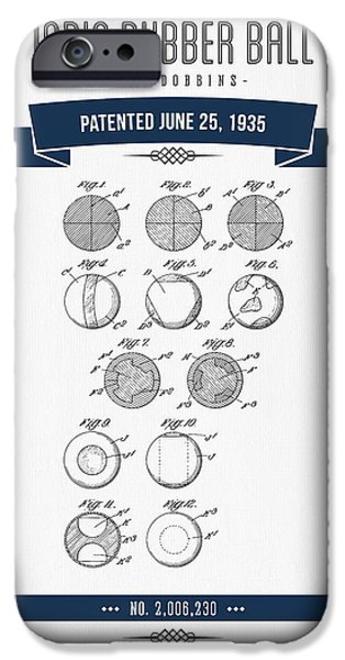 Player Mixed Media iPhone Cases - 1935 India Rubber Ball Patent Drawing - Retro Navy Blue iPhone Case by Aged Pixel