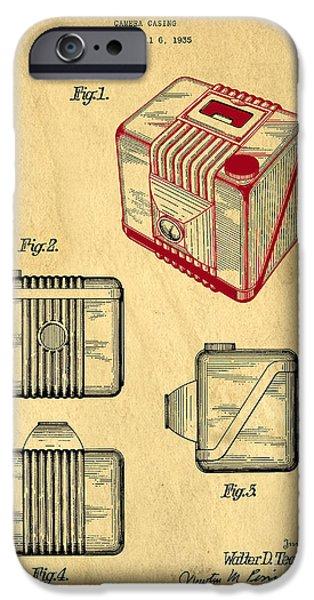 Brownie iPhone Cases - 1935 Kodak Camera Casing Patent iPhone Case by Edward Fielding