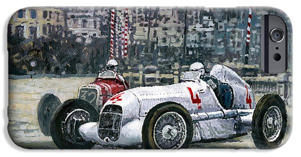 Automotive Paintings iPhone Cases - 1935 Monaco GP Mercedes-Benz W25 #4 L. Fagioli winner  iPhone Case by Yuriy Shevchuk