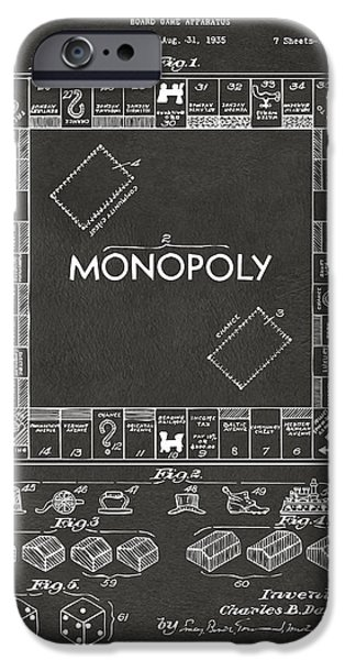 Board Digital Art iPhone Cases - 1935 Monopoly Game Board Patent Artwork - Gray iPhone Case by Nikki Marie Smith