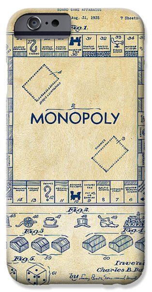 Board iPhone Cases - 1935 Monopoly Game Board Patent Artwork - Vintage iPhone Case by Nikki Marie Smith