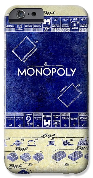 Monopoly iPhone Cases - 1935 Monopoly Patent Drawing 2 Tone  iPhone Case by Jon Neidert