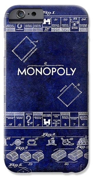 Monopoly iPhone Cases - 1935 Monopoly Patent Drawing Blue iPhone Case by Jon Neidert