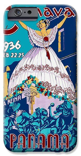 Fashion Design Art iPhone Cases - 1936 Carnaval Vintage Travel Poster iPhone Case by Jon Neidert
