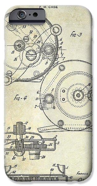 Shark iPhone Cases - 1936 Fishing Reel Patent Drawing iPhone Case by Jon Neidert