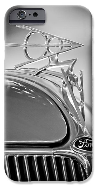 Hoodies iPhone Cases - 1936 Ford Deluxe Roadster Hood Ornament 2 iPhone Case by Jill Reger