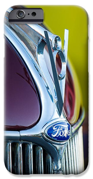 Ford V8 iPhone Cases - 1936 Ford Phaeton V8 Hood Ornament - Emblem -0258c iPhone Case by Jill Reger