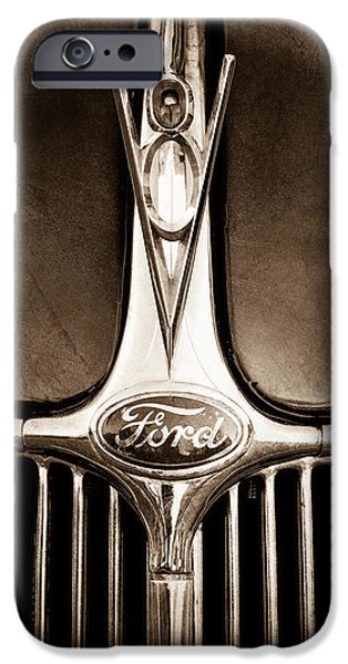 Ford V8 iPhone Cases - 1936 Ford Phaeton V8 Hood Ornament - Emblem iPhone Case by Jill Reger