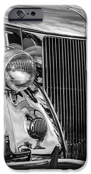 Stainless Steel Photographs iPhone Cases - 1936 Ford Stainless Steel Grille -0376bw iPhone Case by Jill Reger
