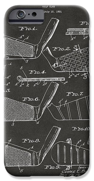 Golf Course iPhone Cases - 1936 Golf Club Patent Artwork - Gray iPhone Case by Nikki Marie Smith