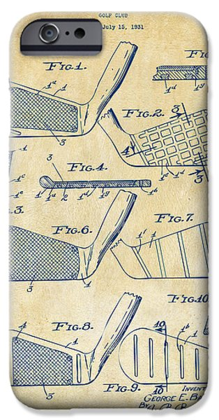 Golfing iPhone Cases - 1936 Golf Club Patent Artwork Vintage iPhone Case by Nikki Marie Smith