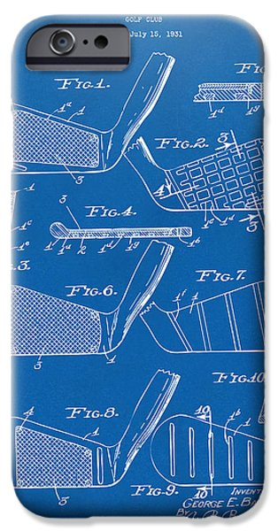 Cave Digital iPhone Cases - 1936 Golf Club Patent Blueprint iPhone Case by Nikki Marie Smith