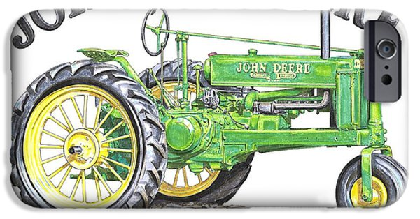 Farmer Drawings iPhone Cases - 1936 John Deere iPhone Case by Shannon Watts