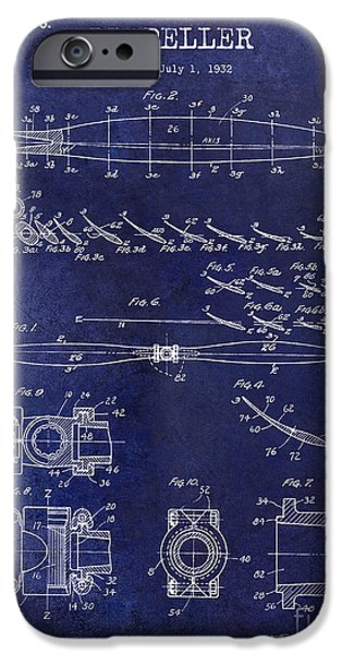 Aeronautical iPhone Cases - 1936 Propeller Patent Drawing Blue iPhone Case by Jon Neidert
