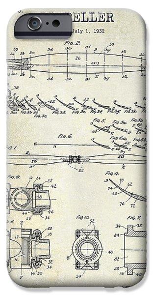 Aeronautical iPhone Cases - 1936 Propeller Patent Drawing iPhone Case by Jon Neidert