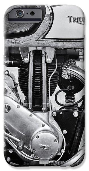 Monochrome iPhone Cases - 1936 Triumph Tiger 80 Monochrome iPhone Case by Tim Gainey
