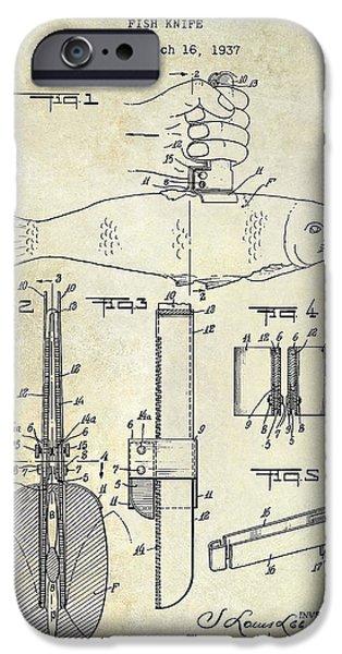 Shark iPhone Cases - 1937 fishing knife Patent iPhone Case by Jon Neidert