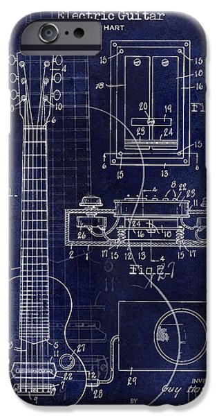 `les iPhone Cases - 1937 Gibson Electric Guitar Patent Drawing Blue iPhone Case by Jon Neidert
