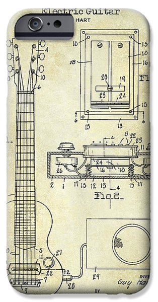 `les iPhone Cases - 1937 Gibson Electric Guitar Patent Drawing iPhone Case by Jon Neidert