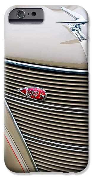 Lincoln iPhone Cases - 1937 Lincoln-Zephyr Coupe Sedan Grille Emblem - Hood Ornament iPhone Case by Jill Reger