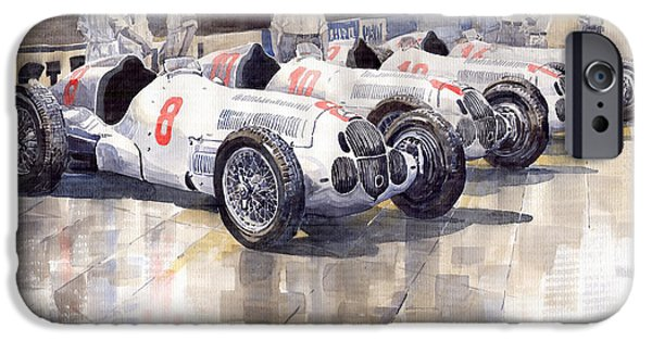 Watercolour Paintings iPhone Cases - 1937 Monaco GP Team Mercedes Benz W125 iPhone Case by Yuriy  Shevchuk