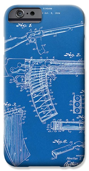 Law Enforcement iPhone Cases - 1937 Police Remington Model 8 Magazine Patent Artwork - Blueprin iPhone Case by Nikki Marie Smith
