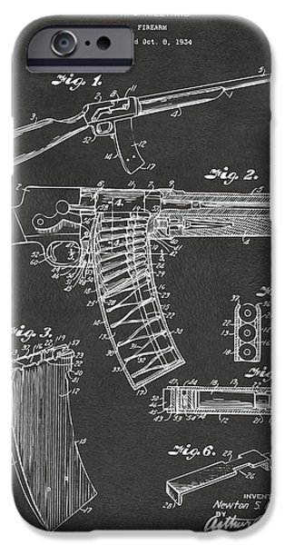 Weapon Digital iPhone Cases - 1937 Police Remington Model 8 Magazine Patent Artwork - Gray iPhone Case by Nikki Marie Smith