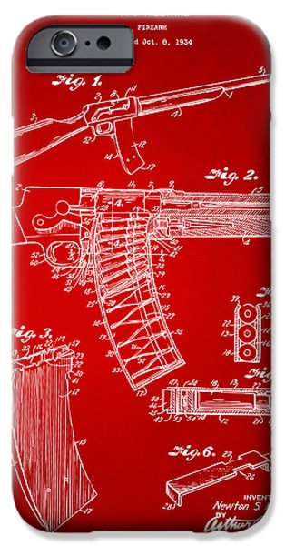 Law Enforcement iPhone Cases - 1937 Police Remington Model 8 Magazine Patent Artwork - Red iPhone Case by Nikki Marie Smith