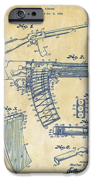 Weapon Digital iPhone Cases - 1937 Police Remington Model 8 Magazine Patent Artwork - Vintage iPhone Case by Nikki Marie Smith