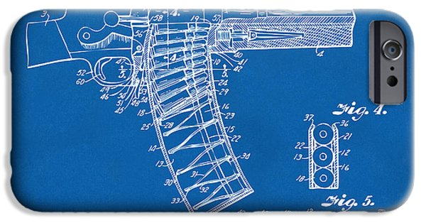 X-ray iPhone Cases - 1937 Police Remington Model 8 Magazine Patent Minimal - Blueprint iPhone Case by Nikki Marie Smith