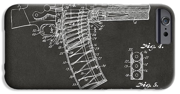 X-ray iPhone Cases - 1937 Police Remington Model 8 Magazine Patent Minimal - Gray iPhone Case by Nikki Marie Smith