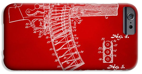 X-ray iPhone Cases - 1937 Police Remington Model 8 Magazine Patent Minimal - Red iPhone Case by Nikki Marie Smith