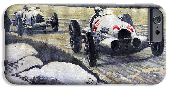 Swiss Paintings iPhone Cases - 1937 Rudolf Caracciola winning Swiss GP W 125 iPhone Case by Yuriy Shevchuk