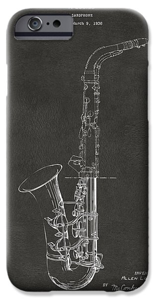 Marching Band iPhone Cases - 1937 Saxophone Patent Artwork - Gray iPhone Case by Nikki Marie Smith