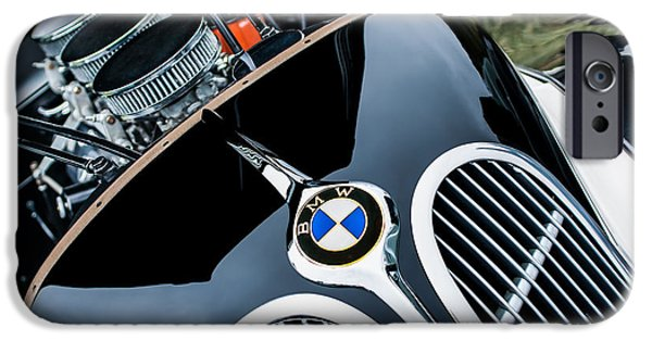 Classic Car Pictures iPhone Cases - 1938 BMW 327-8 Cabriolet Grille Emblem - Engine iPhone Case by Jill Reger