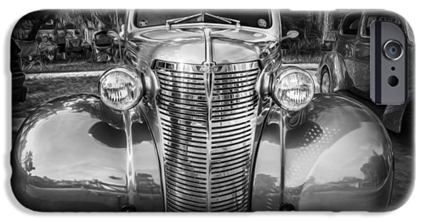 2 Seat iPhone Cases - 1938 Chevrolet Coupe with Rumble Seat Painted BW   iPhone Case by Rich Franco