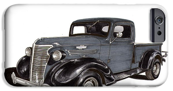 Pen And Ink Framed Prints iPhone Cases - 1938 Chevy Pickup iPhone Case by Jack Pumphrey