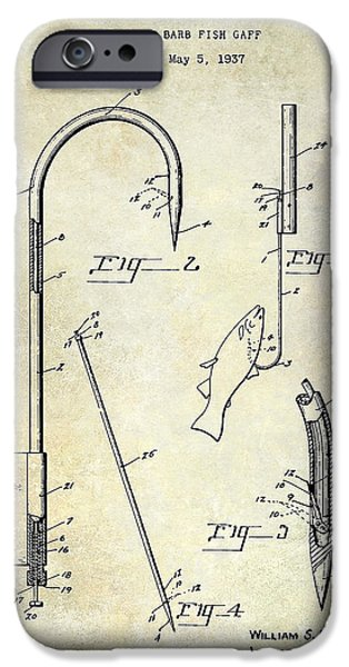 Shark iPhone Cases - 1938 Fishing Gaff Patent Drawing iPhone Case by Jon Neidert