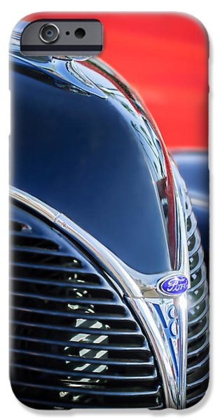 Classic Car Images iPhone Cases - 1938 Ford Hood Ornament - Grille Emblem -0089c iPhone Case by Jill Reger