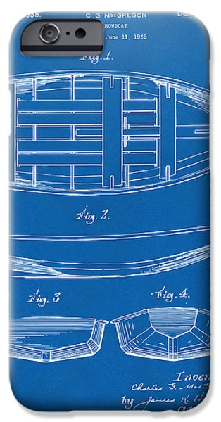 Row Boat Digital iPhone Cases - 1938 Rowboat Patent Artwork - Blueprint iPhone Case by Nikki Marie Smith
