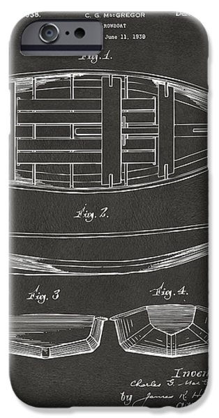 Row Boat Digital iPhone Cases - 1938 Rowboat Patent Artwork - Gray iPhone Case by Nikki Marie Smith