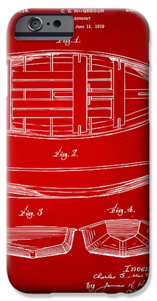 Row Boat Digital iPhone Cases - 1938 Rowboat Patent Artwork - Red iPhone Case by Nikki Marie Smith