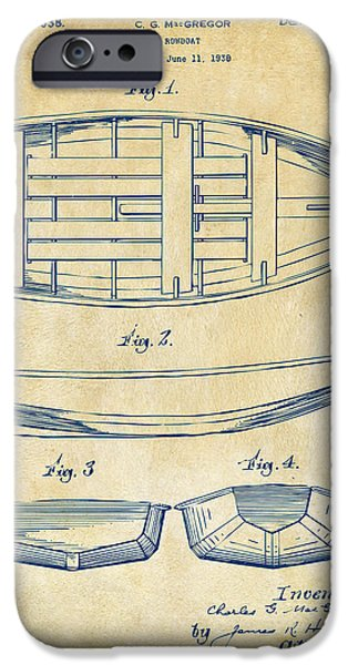 Boat iPhone Cases - 1938 Rowboat Patent Artwork - Vintage iPhone Case by Nikki Marie Smith