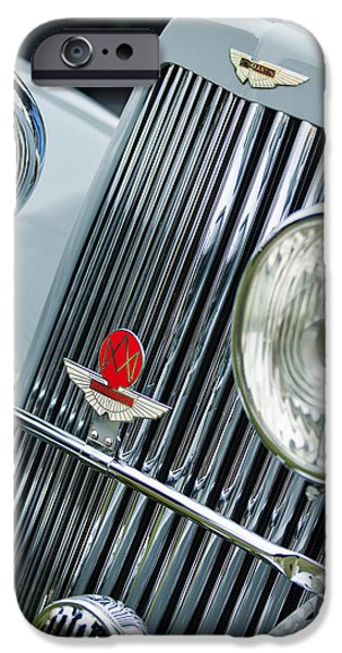 Classic Car Photographer iPhone Cases - 1939 Aston Martin 15-98 Abbey Coachworks SWB Sports Grille Emblems iPhone Case by Jill Reger