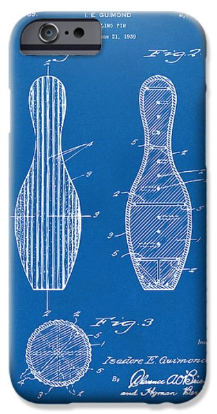 Alley iPhone Cases - 1939 Bowling Pin Patent Artwork - Blueprint iPhone Case by Nikki Marie Smith
