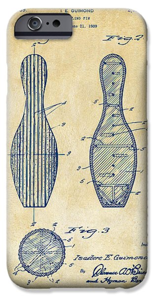 Alley iPhone Cases - 1939 Bowling Pin Patent Artwork - Vintage iPhone Case by Nikki Marie Smith