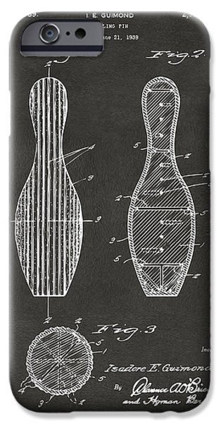 Alley iPhone Cases - 1939 Bowling Pin Patent Artwork - Gray iPhone Case by Nikki Marie Smith
